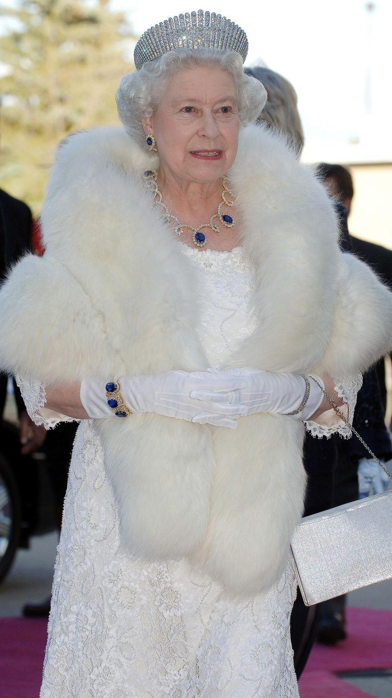 <p>During Queen Elizabeth's tour of the Middle East in 1979, the Sheikh of Dubai presented her with a stunning collection of sapphire jewels made by Asprey—a looped diamond and sapphire necklace, plus matching earrings and a ring. Later, the monarch had the necklace shortened and used the surplus sapphires to create a new set of earrings; she then refashioned the original ring and earrings to make a bracelet. She wore the entire resulting suite—with Queen Alexandra's Kokoshnik Tiara—to a dinner in Canada in 2005.</p>