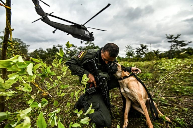 A Colombian police officer hugs a dog during an operation to eradicate illicit crops in Tumaco, Narino Department on December 30, 2020