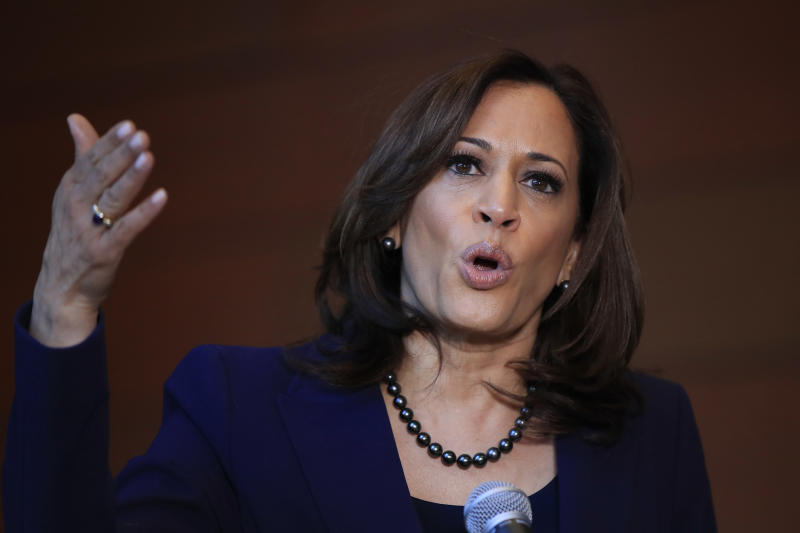 In this Jan. 21, 2019, photo, Sen. Kamala Harris, D-Calif., speaks to members of the media at her alma mater, Howard University in Washington. The 2020 presidential election already includes more than a half-dozen Democrats whose identities reflect the nation's growing diversity, as well as embody the coalition that helped Barack Obama first seize the White House in 2008. (AP Photo/Manuel Balce Ceneta)
