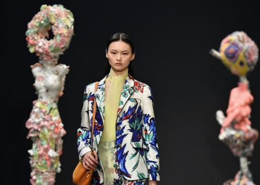 A model walks the runway for Tory Burch during New York Fashion Week: The Shows at Sotheby's on February 9, 2020 in New York City