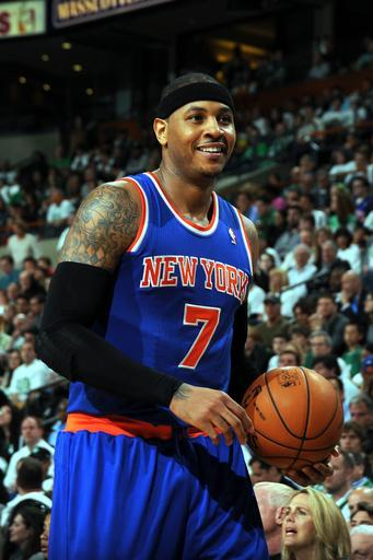 BOSTON, MA - APRIL 26: Carmelo Anthony #7 of the New York Knicks smiles for the camera during a break in play against the Boston Celtics during Game Three of the Eastern Conference Quarterfinals on April 26, 2013 at the TD Garden in Boston, Massachusetts. (Photo by Brian Babineau/NBAE via Getty Images)