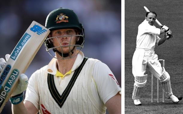 Steve Smith (left) is being compared to the great Donald Bradman (right) - getty images