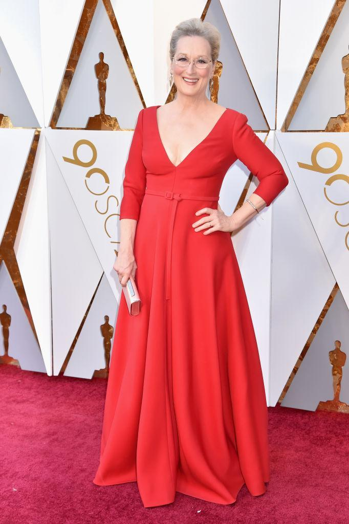 <p>Meryl Streep went for bold red at the 90th Annual Academy Awards in Hollywood. (Photo: Getty Images) </p>