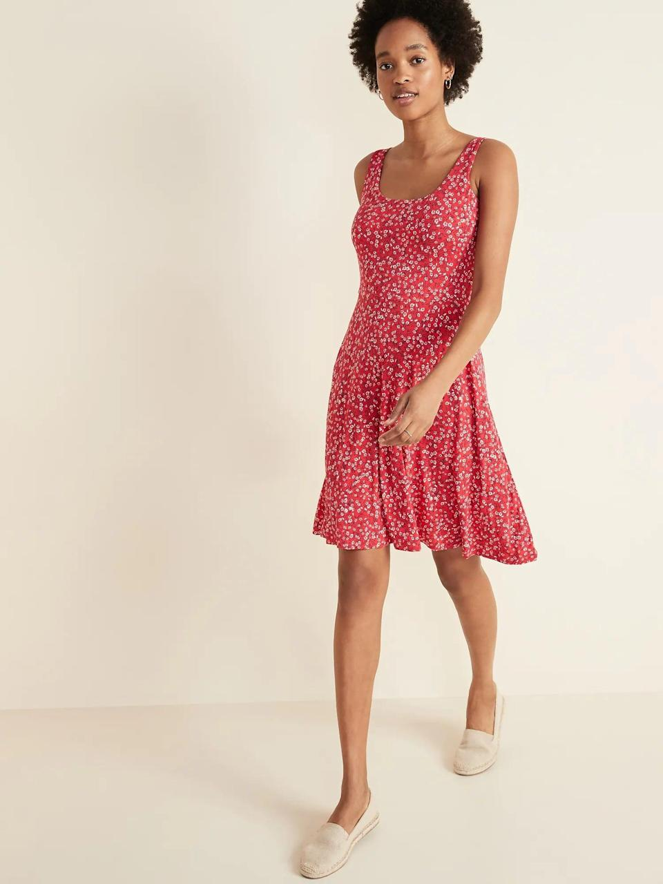 <p>Get this <span>Old Navy Sleeveless Fit &amp; Flare Jersey Dress</span> ($30) for hot days.</p>