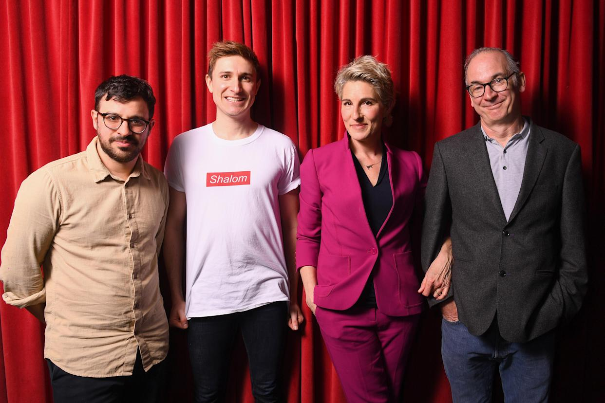 LONDON, ENGLAND - MARCH 09: Paul Ritter, Tom Rosenthal, Simon Bird and Tamsin Greig attend the