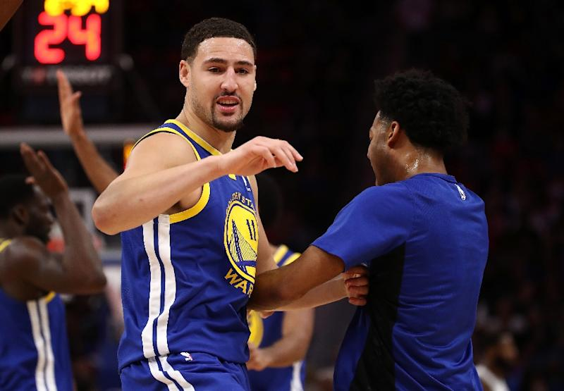 Klay Thompson grabbed 24 points for the Warriors as they edged past the Portland Trail Blazers 111-104 to remain second in the Western Conference standings with a 22-6 record (AFP Photo/Gregory Shamus)