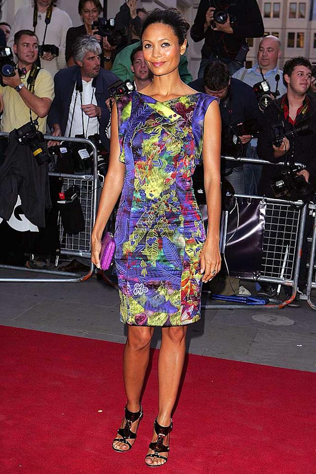 """Thandie Newton brought a splash of color in her floral frock. Gladiator sandals added a funky flair. Fred Duval/<a href=""""http://www.wireimage.com"""" target=""""new"""">WireImage.com</a> - September 2, 2008"""