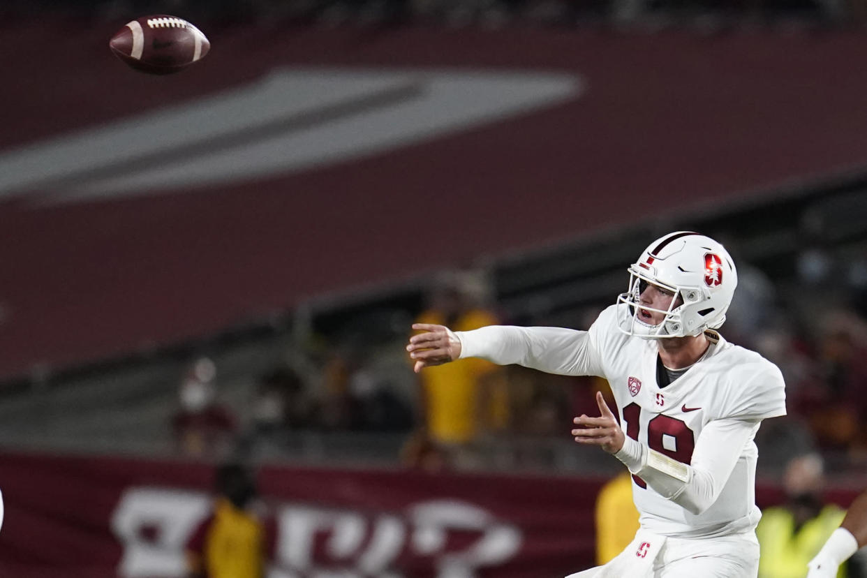 quarterback Tanner McKee throws during the first half of an NCAA college football game against Southern California Saturday, Sept. 11, 2021, in Los Angeles. (AP Photo/Marcio Jose Sanchez)
