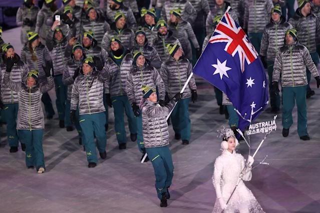 <p>Flag bearer Scotty James of Australia leads the team during the Opening Ceremony of the PyeongChang 2018 Winter Olympic Games at PyeongChang Olympic Stadium on February 9, 2018 in Pyeongchang-gun, South Korea. (Photo by Ronald Martinez/Getty Images) </p>