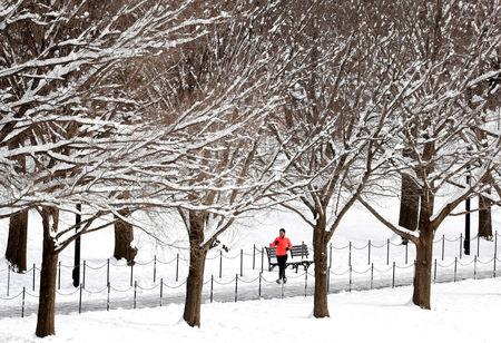 A jogger makes his way along the National Mall, following the weekend snowstorm, in Washington, U.S., January 14, 2019. REUTERS/Kevin Lamarque