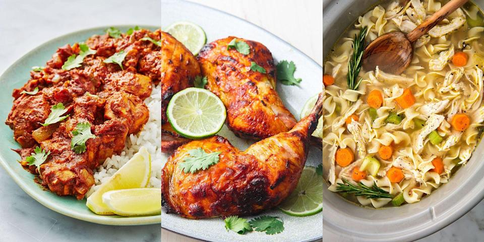 """<p>You can't really go wrong when it comes to chicken, and if you're a meat-eater wanting to go healthy, chicken is your best best! There's so much you can do, make <a href=""""https://www.delish.com/uk/cooking/recipes/a28867202/chicken-bhuna/"""" rel=""""nofollow noopener"""" target=""""_blank"""" data-ylk=""""slk:currys"""" class=""""link rapid-noclick-resp"""">currys</a>, <a href=""""https://www.delish.com/uk/cooking/recipes/a29124077/easy-crockpot-chicken-noodle-soup-recipe/"""" rel=""""nofollow noopener"""" target=""""_blank"""" data-ylk=""""slk:soups"""" class=""""link rapid-noclick-resp"""">soups</a>, <a href=""""https://www.delish.com/uk/cooking/recipes/a29651660/healthy-chicken-casserole-recipe/"""" rel=""""nofollow noopener"""" target=""""_blank"""" data-ylk=""""slk:casseroles"""" class=""""link rapid-noclick-resp"""">casseroles</a>, <a href=""""https://www.delish.com/uk/cooking/recipes/a29260396/chicken-caesar-pasta-salad-recipe/"""" rel=""""nofollow noopener"""" target=""""_blank"""" data-ylk=""""slk:salads"""" class=""""link rapid-noclick-resp"""">salads</a> and more. And EVERY time it'll taste super delicious. So, if you need some help figuring out what to do with your trusty chicken, take a look at a selection of our favourite healthy chicken recipes that'll have you cooking chicken again and again. </p>"""