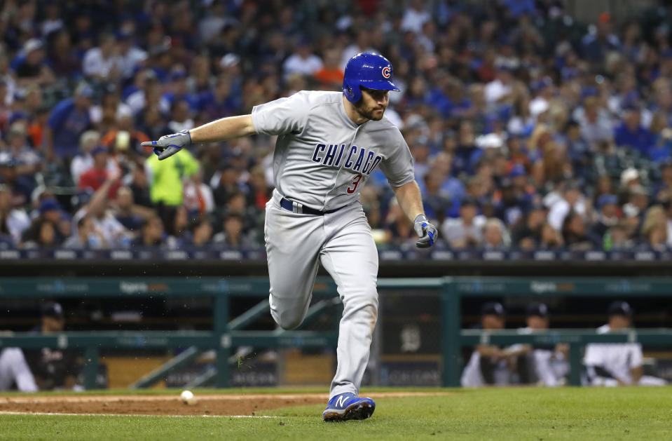 Chicago Cubs' Daniel Murphy gestures after an RBI single in the fifth inning of a baseball game against the Detroit Tigers in Detroit, Wednesday, Aug. 22, 2018. (AP Photo)