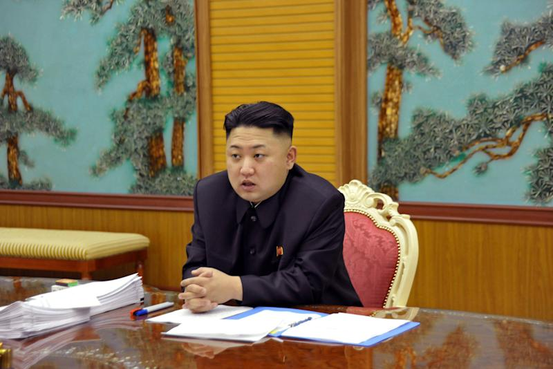 FILE - In this undated file photo released by the Korean Central News Agency and distributed Sunday, Jan. 27, 2013 in Tokyo by the Korea News Service, North Korean leader Kim Jong Un attends a consultative meeting with officials in the fields of state security and foreign affairs at undisclosed location in North Korea. U.N. diplomats say the United States and China have reached agreement on a new sanctions resolution to punish North Korea for its latest nuclear test. (AP Photo/Korean Central News Agency via Korea News Service, File)