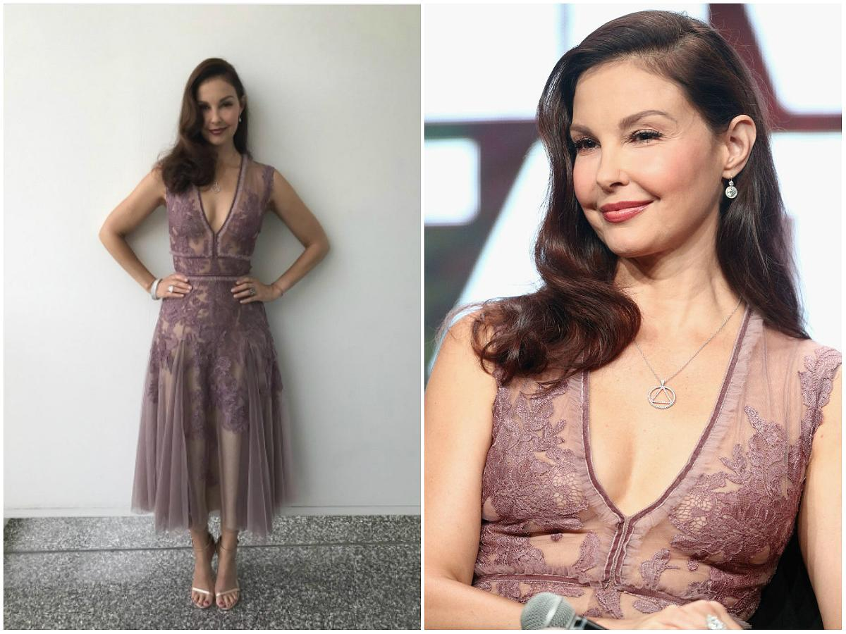 """<p>The 49-year-old actress stunned in a lilac J. Mendel dress while promoting her new TV series """"Berlin Station"""" at the 2017 Summer Television Critics Association Press Tour. The V-neck midi dress features strategically-positioned floral embroidery and a soft, flowing bottom. Judd paired the dreamy dress with a towering pair of Stuart Weitzman sandals, neutral makeup and romantic, flowing waves. She's one of the only celebs who can wear sheer and look posh at the same time, don't you think?(Photos: Instagram/Getty/July 25 2017) </p>"""