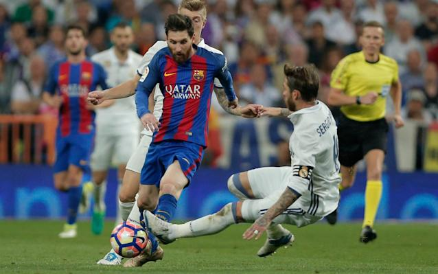 <span>Ramos is sent off for a dangerous two-footed lunge at Messi</span> <span>Credit: AP </span>