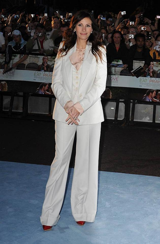 "Speaking of unflattering outfits, what possessed Julia Roberts to don such a baggy and boxy suit to the London premiere of ""Eat Pray Love""? Its maker, Stella McCartney, should be ashamed of the disastrously dowdy design! Eamonn McCormack/<a href=""http://www.wireimage.com"" target=""new"">WireImage.com</a> - September 22, 2010"