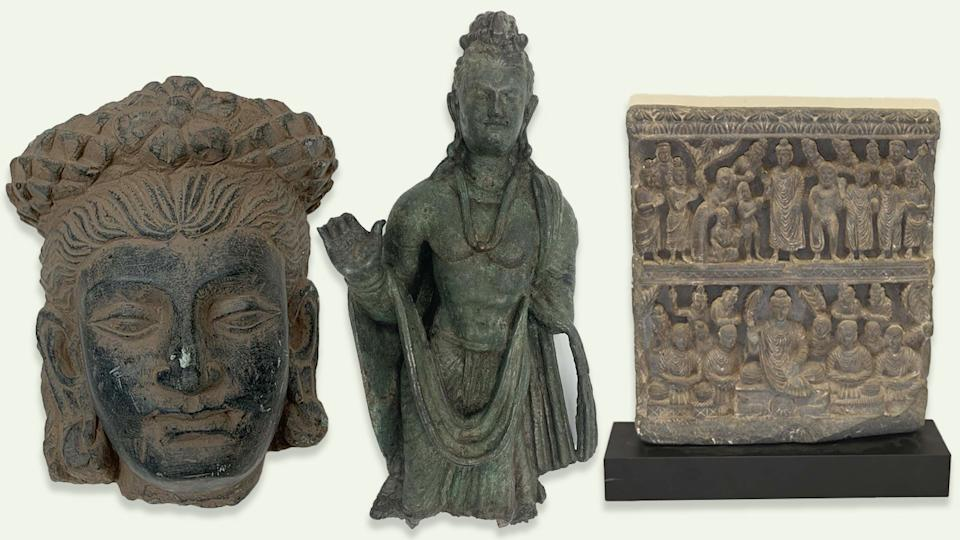 Recovered Afghan artifacts: Head of a Bodhisattva with a headdress - 3rd century AD - valued at $2000;  Standing Buddha - 3rd-4th century AD -  valued at $167,500; and, Relief depicting Buddha's first sermon - 3rd century AD - valued at $55,000. (Photo illustration: Yahoo News; photos: New York District Attorney's Office)