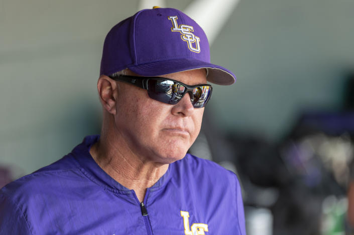 File-This April 28, 2019, file photo shows LSU head coach Paul Mainieri pacing in the dugout during an LSU at Alabama NCAA college baseball game in Tuscaloosa, Ala. LSU is the sentimental favorite of many college baseball fans for as long as the Tigers keep going. Their coach, active career wins leader Mainieri, announced before the tournament he would retire after this season. (AP Photo/Vasha Hunt, File)
