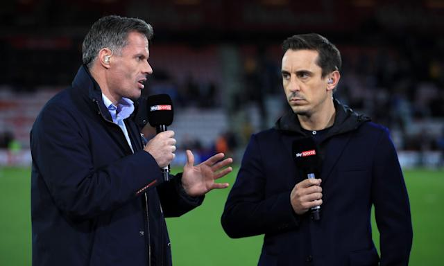 Due to Jamie Carragher's suspension, Gary Neville not only had to conduct video analysis for Stoke v Manchester City, but respond to his own observations with an arched eyebrow.