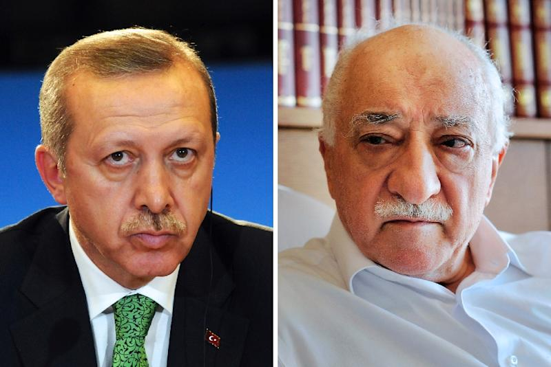 Turkey's President Recep Tayyip Erdogan (L) has accused Islamic preacher Fethullah Gulen (R) of being behind the attempted coup