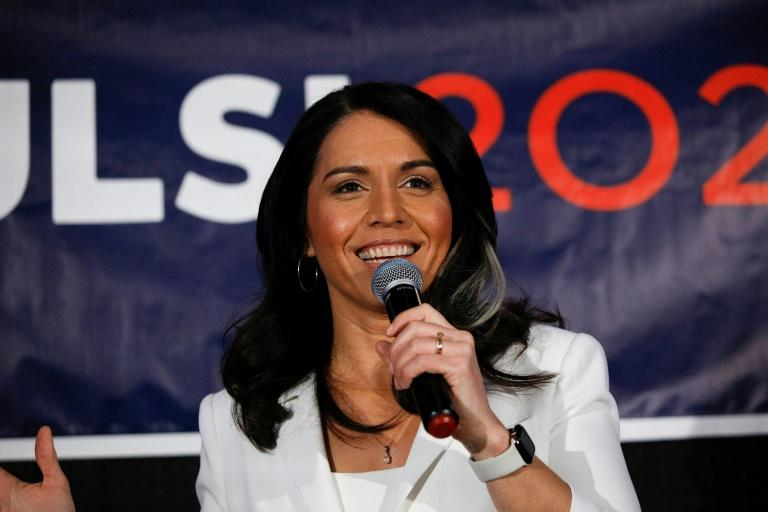 Tulsi Gabbard was pipped to the podium by two candidates who were no longer running (AFP Photo/BILL PUGLIANO)