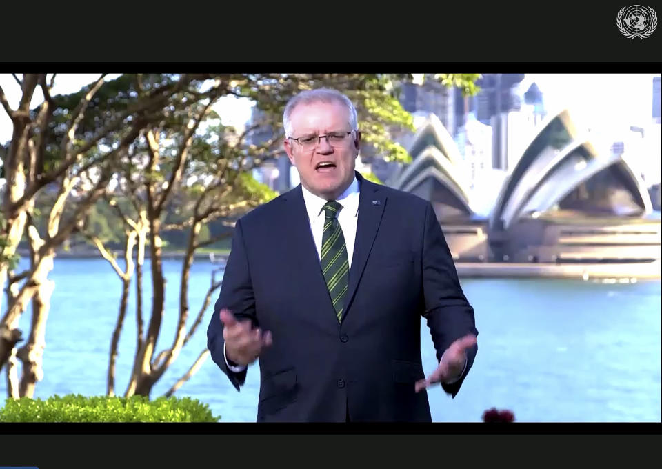 RETRANSMISSION TO CORRECT DATE - In this photo made from UNTV video, Scott Morrison, Prime Minister of Australia, speaks in a pre-recorded message which was played during the 75th session of the United Nations General Assembly, Friday, Sept. 25, 2020, at UN Headquarters. (UNTV Via AP )
