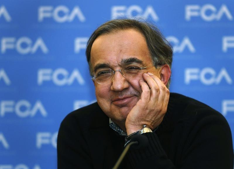 Fiat Chrysler CEO Marchionne answers questions from the media during the FCA Investors Day in Auburn Hills