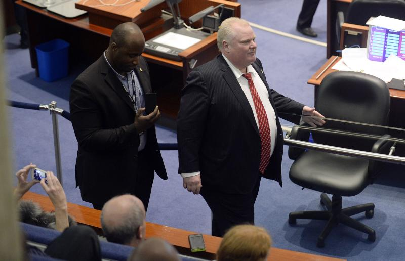 Toronto Mayor Rob Ford during a special council meeting at City Hall in Toronto