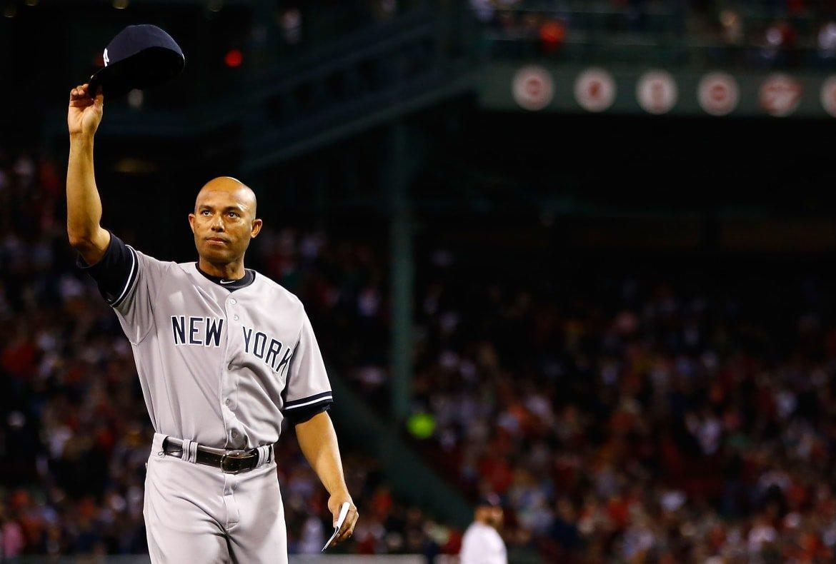 """<div class=""""inline-image__caption""""> <p>Mariano Rivera tips his hat to the crowd after being honored prior to the game against the Boston Red Sox on September 15, 2013 at Fenway Park in Boston, Massachusetts.</p> </div> <div class=""""inline-image__credit""""> Jared Wickerham/Getty </div>"""