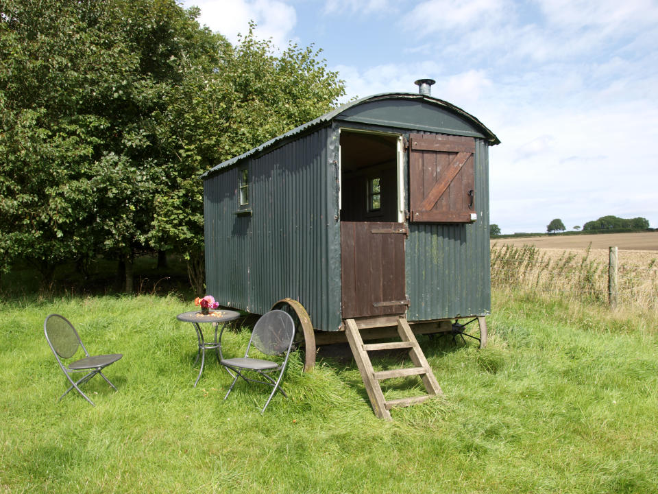 Shepherds hut available for holiday accommodation, Milton Abbas, Dorset, UK. (Photo by: Education Images/Universal Images Group via Getty Images)