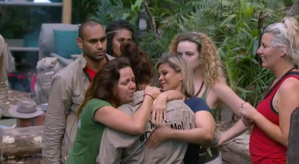 Mel's shock departure left her fellow campmates visibly distraught. Photo: Channel 10.