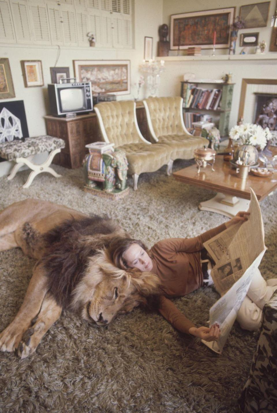 """<p>Tippi Hedren's decorating style is daring and eclectic, but what sparks our interest in her Californian home is her <a href=""""https://www.life.com/animals/something-wild-at-home-with-tippi-hedren-melanie-griffith-and-a-400-pound-lion/"""" rel=""""nofollow noopener"""" target=""""_blank"""" data-ylk=""""slk:400-pound pet lion, Neil"""" class=""""link rapid-noclick-resp"""">400-pound pet lion, Neil</a>. A devout animal activist, Tippi's lion was comfortable in almost every room of the house — even the bed she shared with husband Noel Marshall. She later founded the Roar Foundation and Shambala Preserve Sanctuary. </p>"""