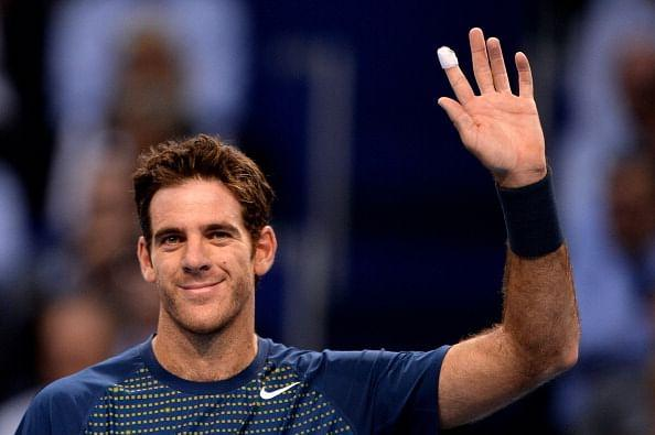 Argentina's Juan Martin Del Potro celebratres after beating France's Paul-Henri Mathieu in their quarter-final tennis match at the Swiss Indoors ATP tournament in Basel.