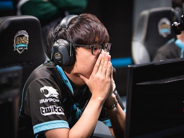 Huhi after CLG's 2-1 victory over nV. (Riot Games/lolesports)