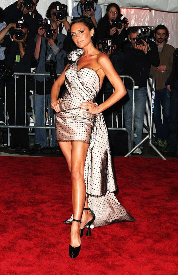 "Victoria Beckham put her best fashion foot forward in a Marc Jacobs one-shoulder polka dot frock complete with train ... or did she? Stephen Lovekin/<a href=""http://www.gettyimages.com/"" target=""new"">GettyImages.com</a> - May 4, 2009"