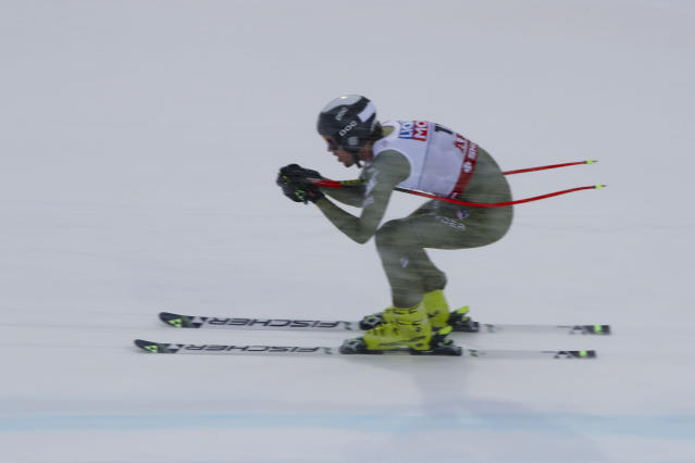 United States' Bryce Bennett competes during the men's downhill at the alpine ski World Championships in Are, Sweden, Saturday, Feb.9, 2019. (AP Photo/Alessandro Trovati)
