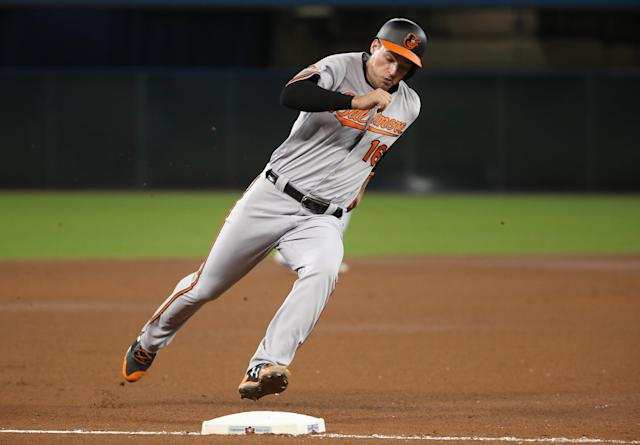 The Baltimore Orioles' Trey Mancini had an excellent and surprising rookie year. (Getty Images)