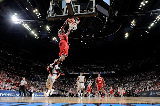 COLUMBUS, OH - MARCH 18: C.J. Leslie #5 of the North Carolina State Wolfpack dunks the ball at the end of the first half after stealing it from Otto Porter #22 of the Georgetown Hoyas during the third round of the 2012 NCAA Men's basketball tournament at Nationwide Arena on March 18, 2012 in Columbus, Ohio. (Photo by Jamie Sabau/Getty Images)