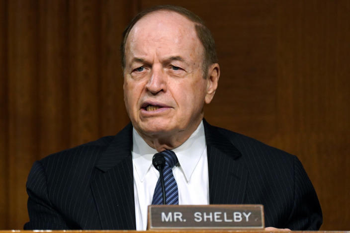 FILE - In this Sept. 24, 2020 file photo, Sen. Richard Shelby, R-Ala., speaks during the Senate's Committee on Banking, Housing, and Urban Affairs hearing on Capitol Hill in Washington. Shelby says he won't seek a seventh term in office in 2022. Shelby made the announcement in a statement on Monday, Feb. 8, 2021. (Toni L. Sandys/The Washington Post via AP, Pool, File)