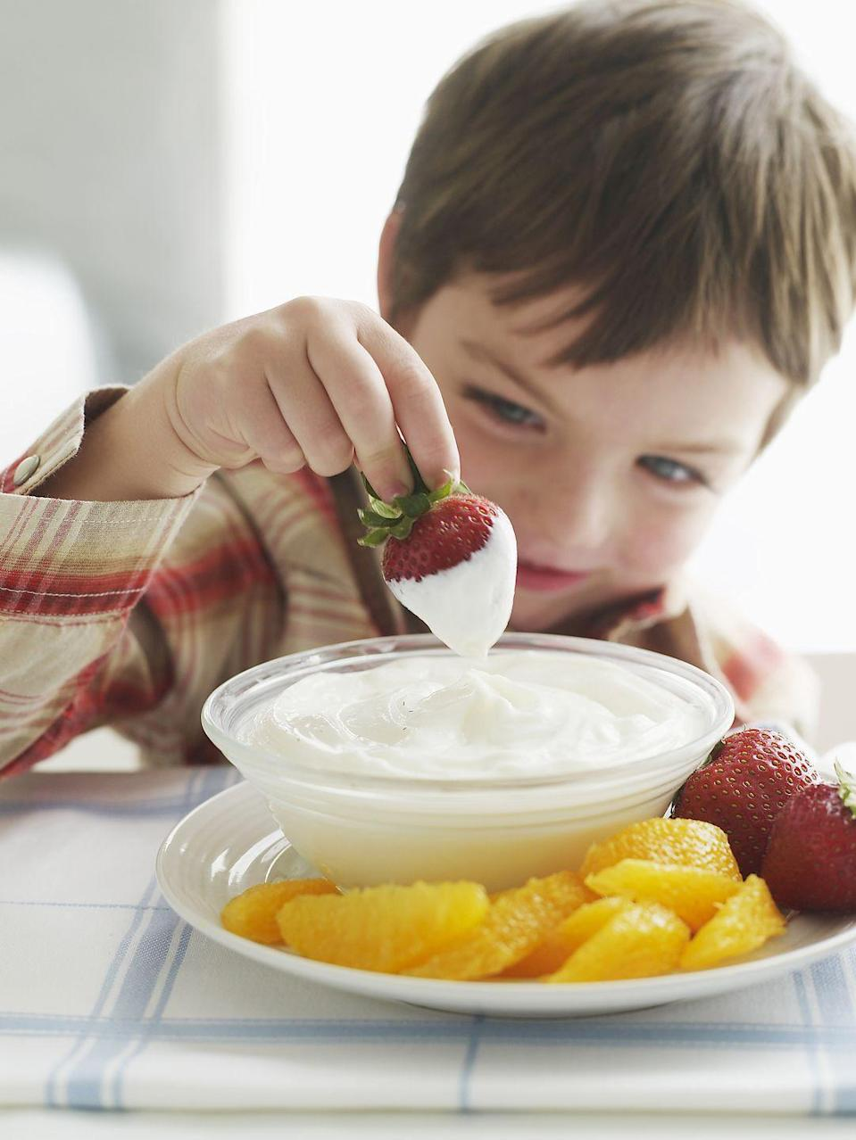 <p>Grab a portion controlled handful of pretzels or a few pieces of fruit and <strong>dip it into yogurt for a far less sugary option </strong>than the yogurt candy chip varieties.</p>