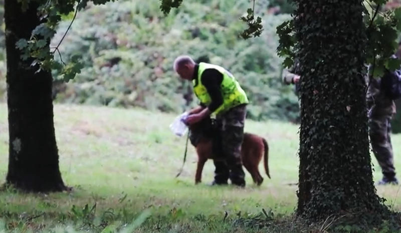 Police are seen searching for Victorine with a sniffer dog. Source: Newsflash/Australscope