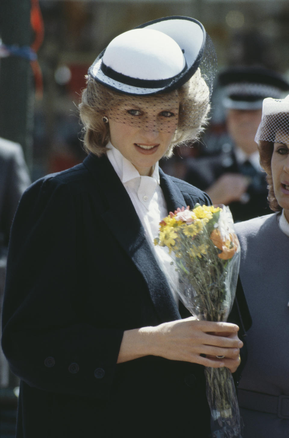 Diana, Princess of Wales  (1961 - 1997) during a visit to Chester and Warrington, UK, May 1984. She is wearing a Jan Van Velden coat and a hat by Frederick Fox.  (Photo by Terry Fincher/Princess Diana Archive/Getty Images)