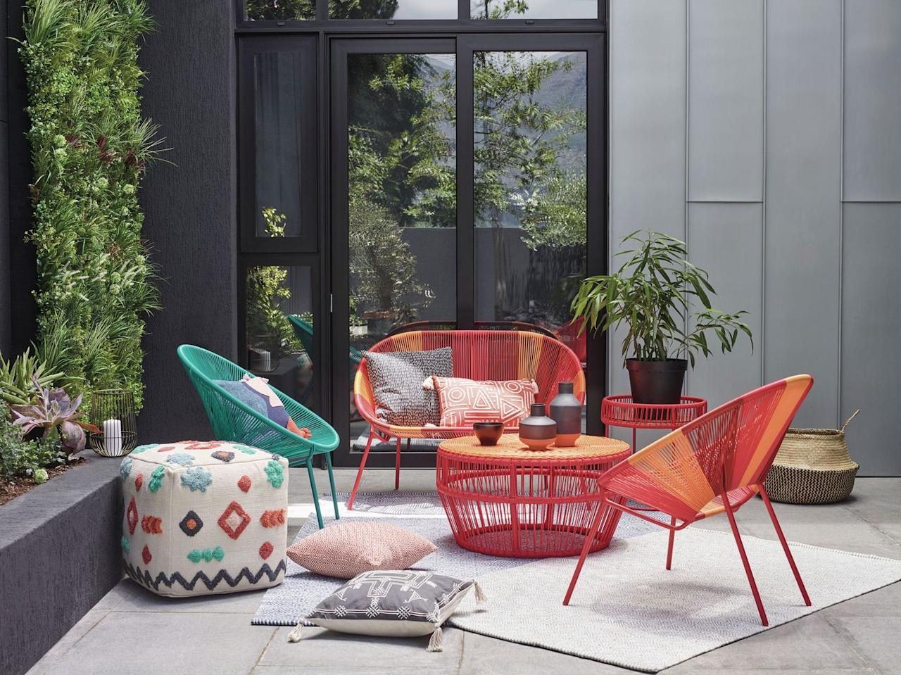 """<p><em>House by John Lewis, Salsa Garden Chair set of two (1 shown), Orange Sunrise, £140, John Lewis & Partners</em></p><p><a class=""""body-btn-link"""" href=""""https://go.redirectingat.com?id=127X1599956&url=https%3A%2F%2Fwww.johnlewis.com%2Fhouse-by-john-lewis-salsa-garden-chair-set-of-2%2Fp3813525&sref=http%3A%2F%2Fwww.housebeautiful.com%2Fuk%2Fgarden%2Fg21058049%2Foutdoor-garden-furniture-sets%2F"""" target=""""_blank"""">BUY NOW</a></p><p>Colourful and contemporary, this striking steel and rattan constructed chair is the best way to make a style statement this summer. The salsa range also includes a <a href=""""https://www.johnlewis.com/house-by-john-lewis-salsa-2-seater-garden-sofa/orange-sunrise/p3809589"""" target=""""_blank"""">two-seater garden sofa</a> and a <a href=""""https://www.johnlewis.com/house-by-john-lewis-salsa-garden-coffee-table-80cm/orange-sunrise/p3809372"""" target=""""_blank"""">garden coffee table.</a> <strong>Shop the full <a href=""""https://www.johnlewis.com/house-by-john-lewis-salsa-garden-outdoor-furniture/p89029320"""" target=""""_blank"""">Salsa range here</a>. </strong></p>"""