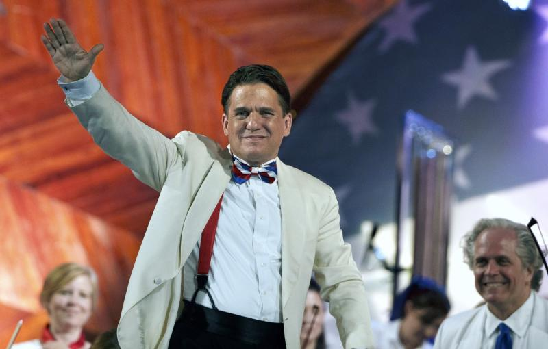 FILE - In this July 3, 2017, file photo, conductor Keith Lockhart waves during a rehearsal for the annual Boston Pops Fireworks Spectacular on the Esplanade in Boston. Lockhart marks 25 years with the Boston Pops in 2020, making him the orchestra's second longest-tenured conductor after Arthur Fiedler. (AP Photo/Michael Dwyer, File)
