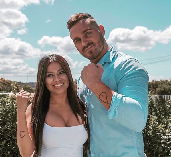 MAFS Cyrell Paule and Love Island's Eden Dally with love heart tattoos.