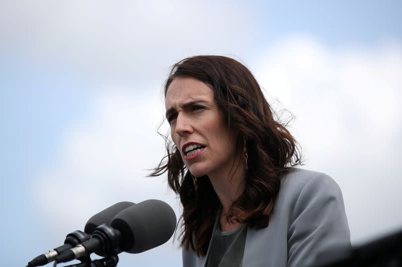 FILE PHOTO: New Zealand Prime Minister Ardern speaks during a joint press conference at Admiralty House in Sydney