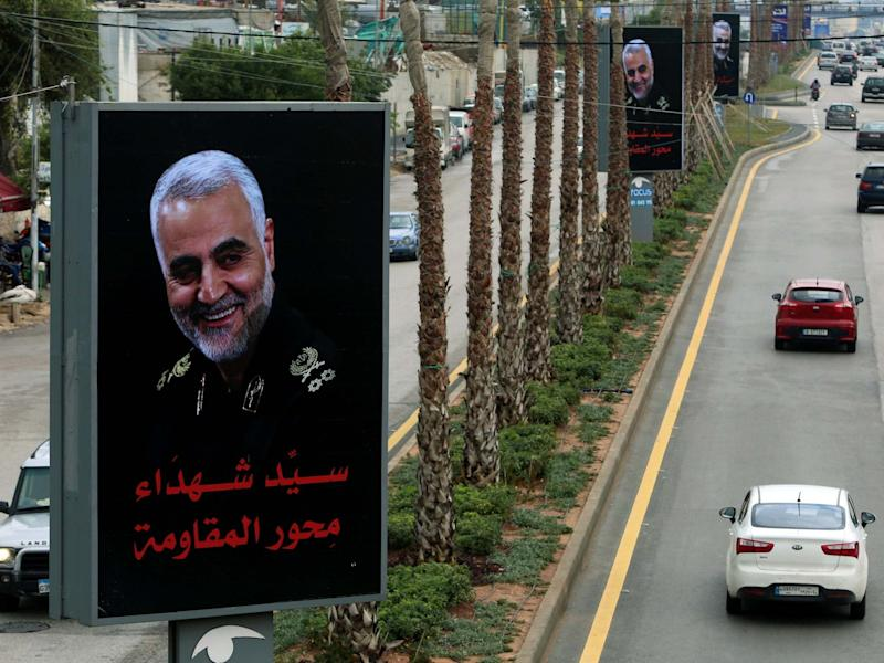 Cars pass near a picture of late Iranian Major-General Qassem Soleimani, head of the elite Quds Force, in Beirut's suburbs, Lebanon, January 5, 2020: Reuters