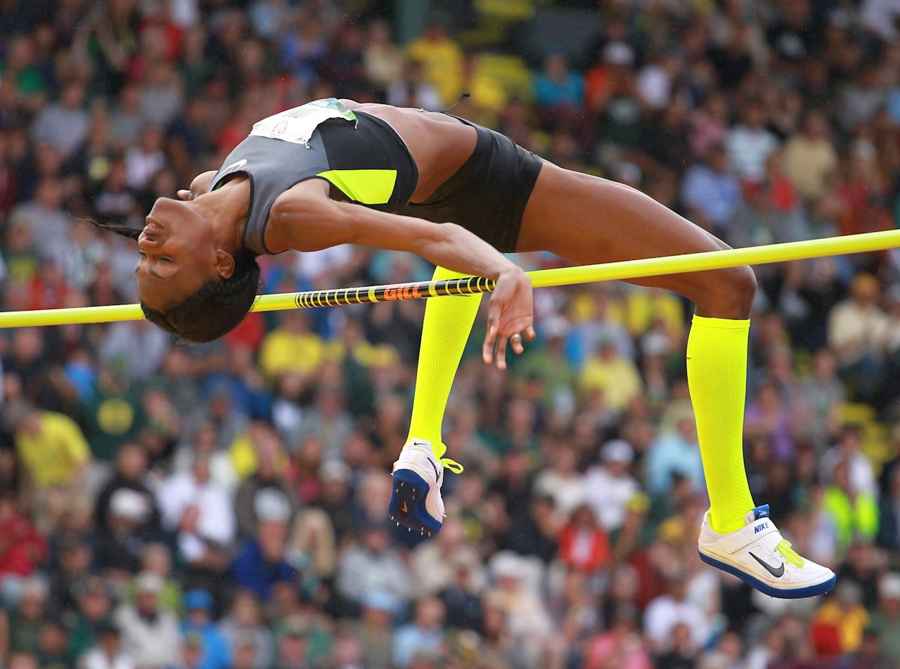 EUGENE, OR - JUNE 30:  Chaunte Lowe clears the bar on the way to victory in the Women's High Jump on Day 9 of the 2012 U.S. Olympic Track & Field Team Trials at Hayward Field on June 30, 2012 in Eugene, Oregon.  (Photo by Andy Lyons/Getty Images)