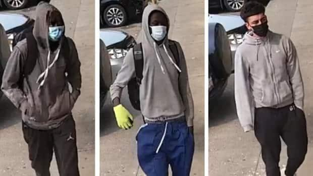 On Friday, the Calgary Police Service released security camera images of several suspects from multiple robberies across the city. (Calgary Police Service - image credit)