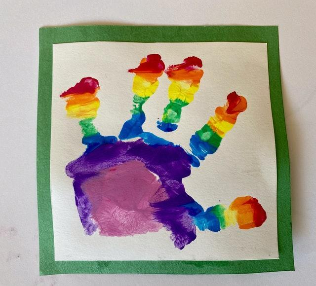 A painted handprint by Prince Louis